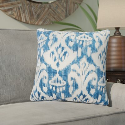 Marisa Ikat Outdoor Throw Pillow Color: Blue, Size: 20 H x 20 W
