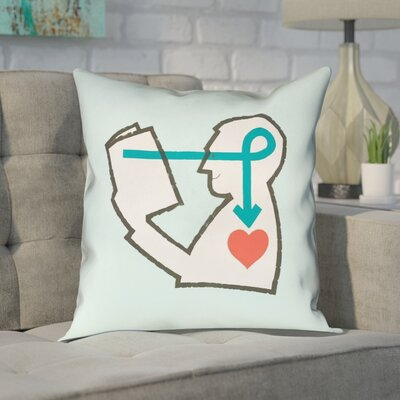 Enciso Reading Love Square Pillow Size: 16 x 16, Color: Blue, Type: Throw Pillow