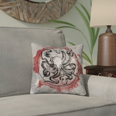 Carpenter Red Vintage Octopus Double Sided Print Throw Pillow