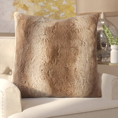 Atkins Faux Fur Euro Pillow Color: Tan