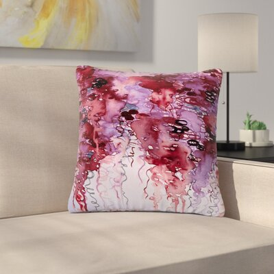 Ebi Emporium Beauty in the Rain Outdoor Throw Pillow Size: 18 H x 18 W x 5 D, Color: Purple/Red