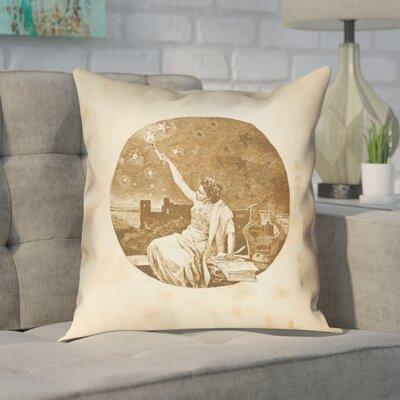 Enciso Red Vintage Goddess Outdoor Throw Pillow Color: Gold, Size: 18 x 18