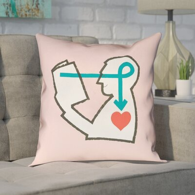 Enciso Reading Love Square Pillow Size: 16 x 16, Color: Pink, Type: Throw Pillow