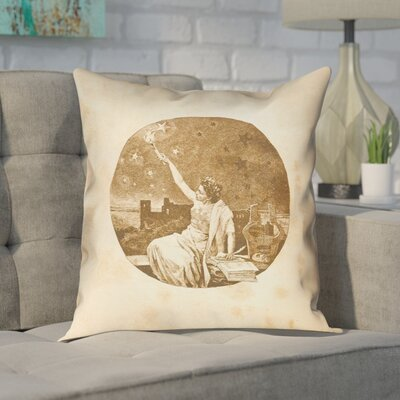 Enciso Red Vintage Goddess Throw Pillow Color: Gold, Size: 16 x 16