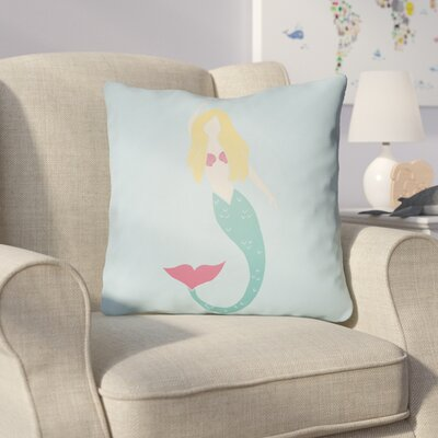 Angie Mermaid Indoor/Outdoor Throw Pillow Size: 18 H x 18 W x 3.5 D, Color: Blue