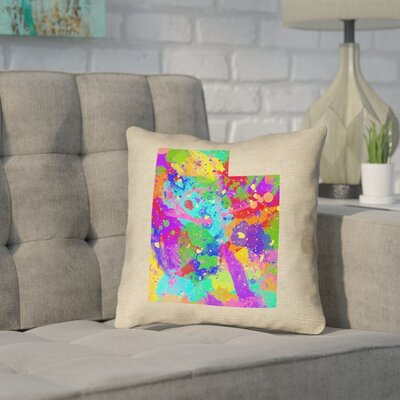 Sherilyn Utah Throw Pillow Size: 14 x 14, Material: Spun Polyester, Color: Green/Blue