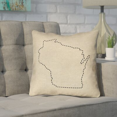 Sherilyn Wisconsin Dash Outline Outdoor Throw Pillow Size: 18 x 18