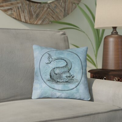 Carpenter Vintage Sea Monster Throw Pillow Size: 14 x 14, Color: Blue