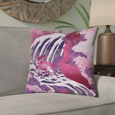 Yasmina Contemporary Horse and Waterfall Throw Pillow Size: 16 x 16