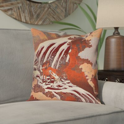 Yasmina Horse and Waterfall Linen Pillow Cover Size: 18 x 18