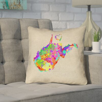 Sherilyn West Virginia Love Watercolor Outdoor Throw Pillow Size: 16 x 16