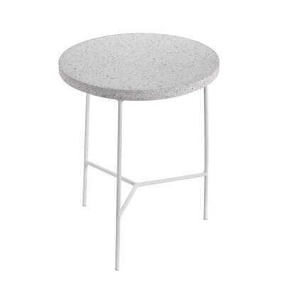 Timmerman Terrazzo End Table Table Base Color: White, Table Top Color: Beige
