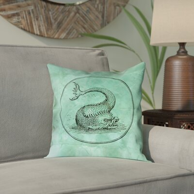 Carpenter Vintage Blue Sea Monster Outdoor Throw Pillow Color: Green, Size: 18