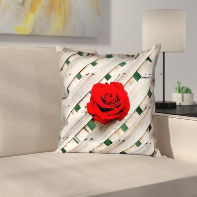 Hansard Fence Rose Outdoor Throw Pillow Size: 18 x 18