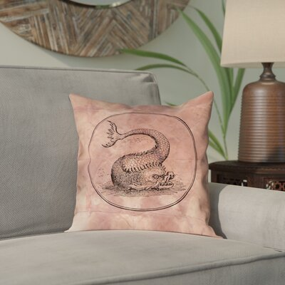 Carpenter Vintage Blue Sea Monster Outdoor Throw Pillow Color: Red, Size: 18 x 18