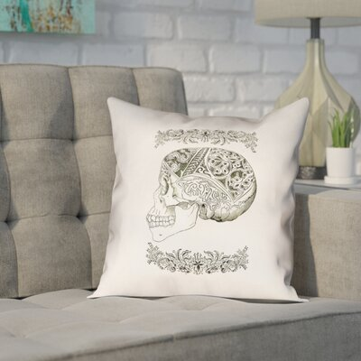 Enciso Vintage Decorative Skull Outdoor Throw Pillow Size: 16 x 16