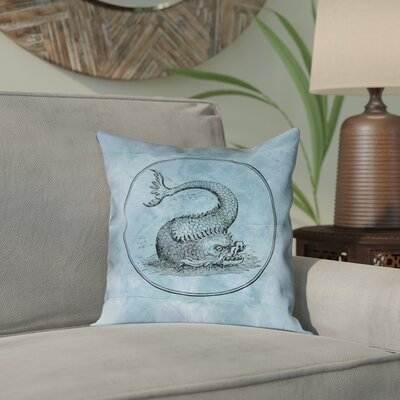 Carpenter Vintage Blue Sea Monster Outdoor Throw Pillow Color: Blue, Size: 18