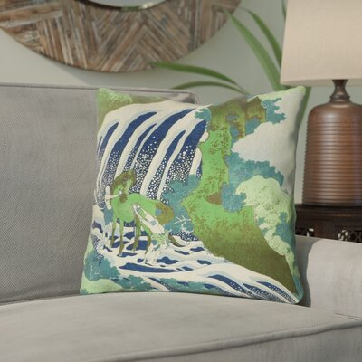 Yasmina Eclectic Horse and Waterfall Throw Pillow Size: 14 x 14