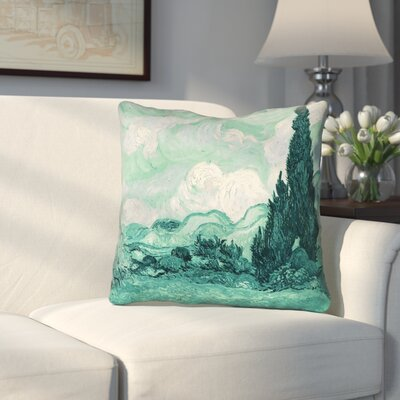 Keating Green Wheatfield with Cypresses Faux Suede Throw Pillow Size: 14 x 14