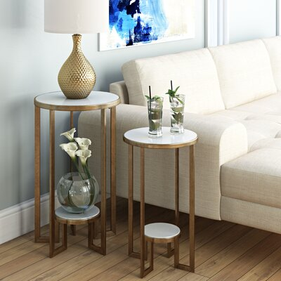 Sherilyn 2 Piece Nesting Tables Color: Brass