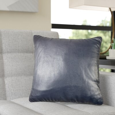 Dorine Leather Throw Pillow Color: Navy