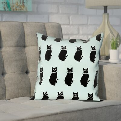 Pecora Cat Outdoor Throw Pillow Color: Blue, Size: 16 x 16