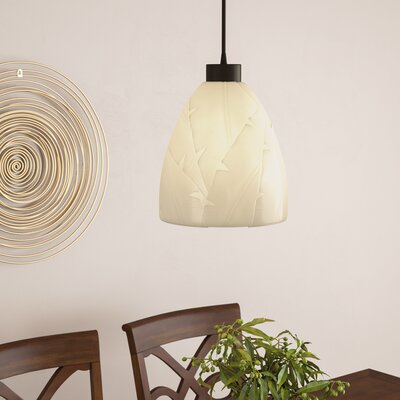 Thora 1-Light Mini Pendant Finish: Dark Bronze, Shade Color: Banana Leaf