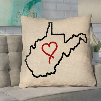 Sherilyn West Virginia Love Outline Size: 26 x 26, Type: Throw Pillow