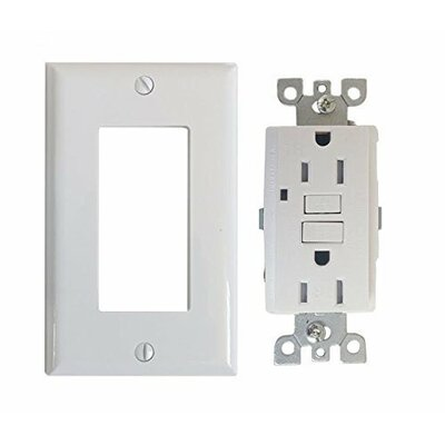 UL Listed GFCI Receptacle 15-Amp (Tamper-Resistant) Duplex 125V Wall Mounted Outlet