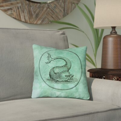 Carpenter Vintage Sea Monster Throw Pillow Size: 14