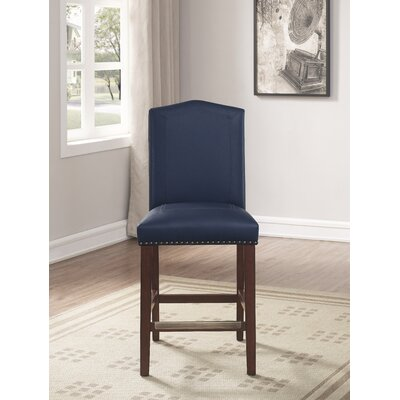 Purser Leather 24 Bar Stool Upholstery: Navy Blue