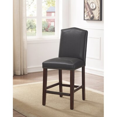 Purser Leather 24 Bar Stool Upholstery: Gray
