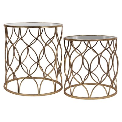 Zavala 2 Piece Round Nesting Tables Color: Gold