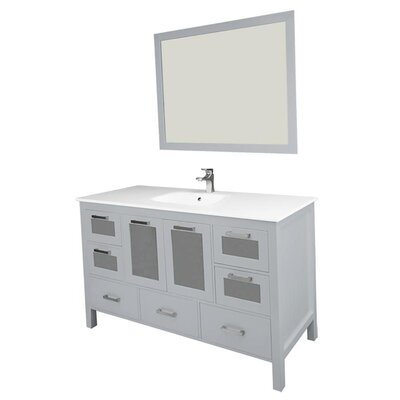 Andre 60 Single Bathroom Vanity Set with Mirror Base Finish: Gray