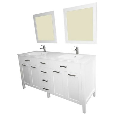 Drake 60 Double Bathroom Vanity Set with Mirror Base Finish: White
