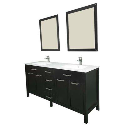 Drake 60 Double Bathroom Vanity Set with Mirror Base Finish: Espresso