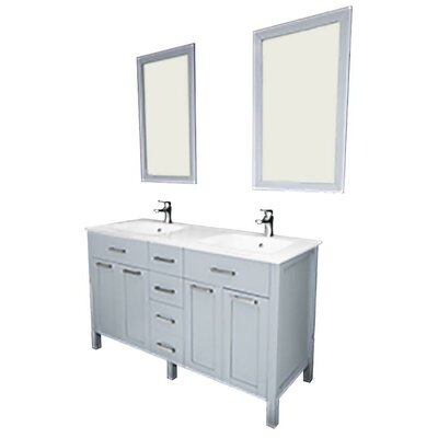 Drake 72 Double Bathroom Vanity Set with Mirror Base Finish: Gray