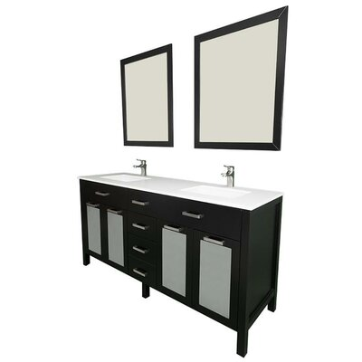 Drake 72 Double Bathroom Vanity Set with Mirror Base Finish: Espresso
