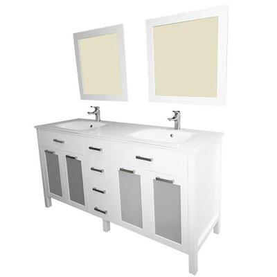 Drake 60 Double Bathroom Vanity Set with Mirror Base Finish: White