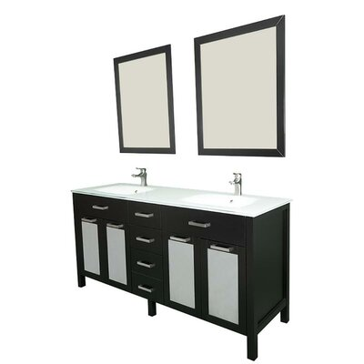 Drake 60 Double Bathroom Vanity Set with Mirror Base Finish: Espresso