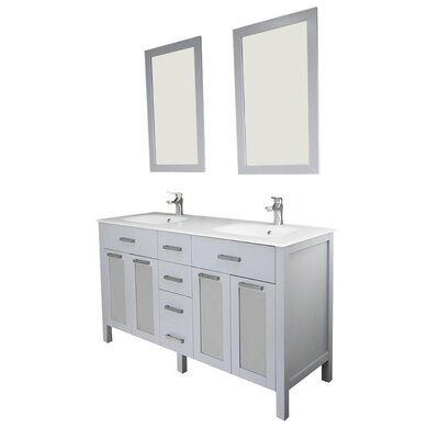 Drake 60 Double Bathroom Vanity Set with Mirror Base Finish: Gray