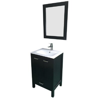 Hirst 24 Single Bathroom Vanity Set with Mirror Base Finish: Espresso, Sink Material: Ceramic