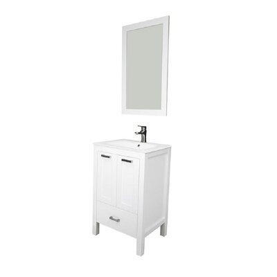 Hirst 24 Single Bathroom Vanity Set with Mirror Base Finish: White, Sink Material: Glass