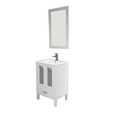 Hirst 24 Single Bathroom Vanity Set with Mirror Base Finish: White