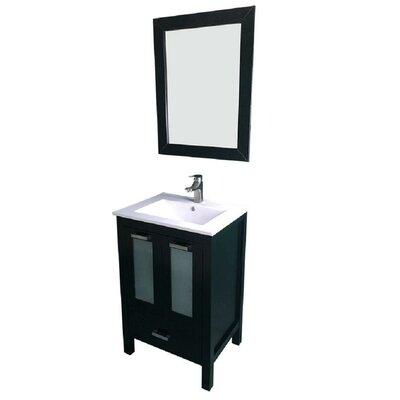 Hirst 24 Single Bathroom Vanity Set with Mirror Base Finish: Espresso