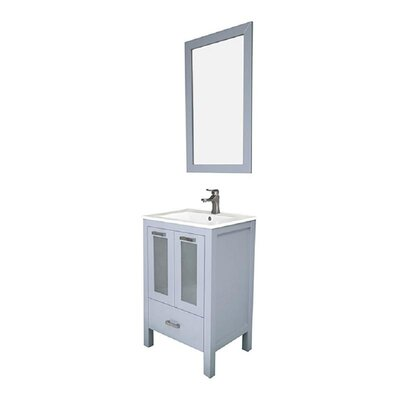 Hirst 24 Single Bathroom Vanity Set with Mirror Base Finish: Gray