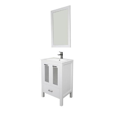 Hirst 24 Single Bathroom Vanity Set with Mirror Base Finish: White