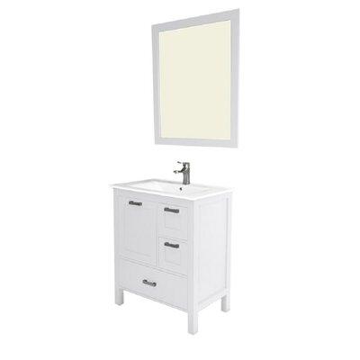 Andre 30 Single Bathroom Vanity Set with Mirror Base Finish: White
