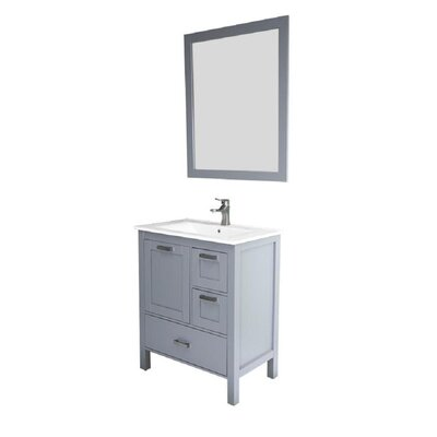 Andre 30 Single Bathroom Vanity Set with Mirror Base Finish: Gray