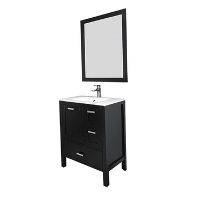 Andre 30 Single Bathroom Vanity Set with Mirror Base Finish: Espresso